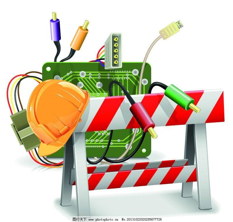 路障 安全帽 电路板 警戒条 维修中 矢量 eps 背景底纹矢量素材 底纹