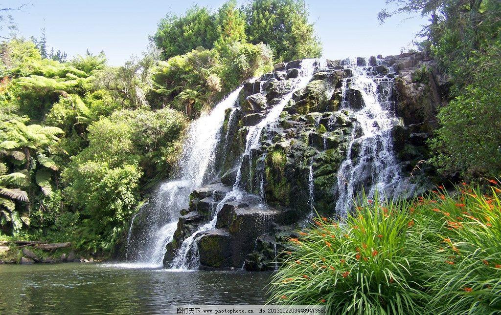 瀑布 山水 青山绿水 风景 树木 绿色 山水风景 自然景观 摄影 230dpi