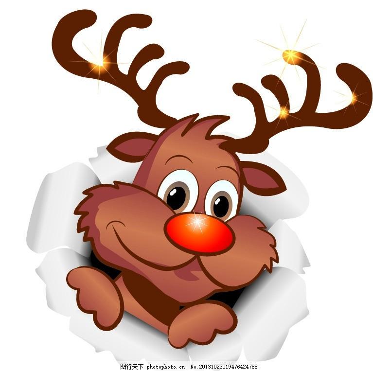 卡通圣诞麋鹿 圣诞节 圣诞鹿 可爱 插画 冬季 矢量素材 圣诞元素矢量