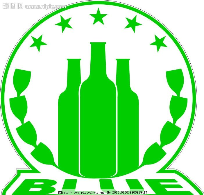酒吧logo 酒吧 标志 blue 酒瓶酒杯 企业logo标志 标识标志图标 矢量