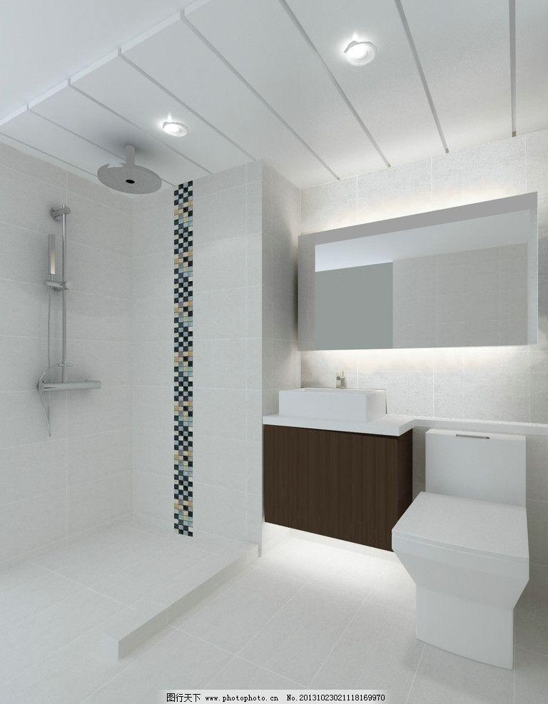室内效果图               室内设计图 喷淋 马赛克 玻璃门 镜柜 3d作