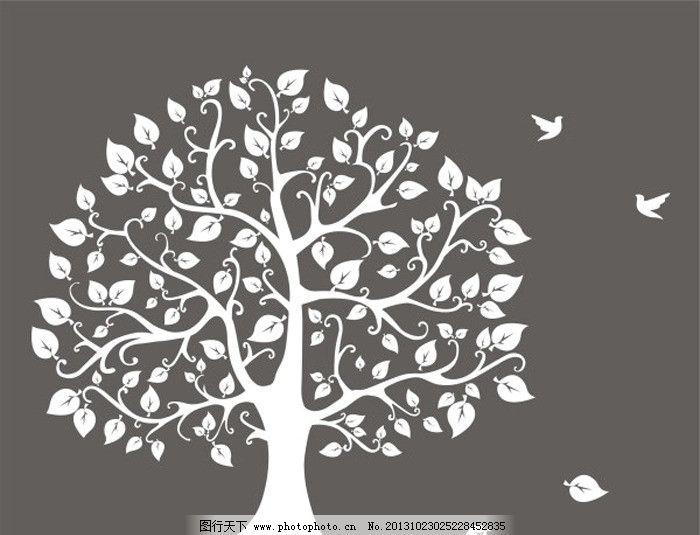 矢量树 大树 叶子 矢量 手绘 小鸟 树木树叶 生物世界 cdr