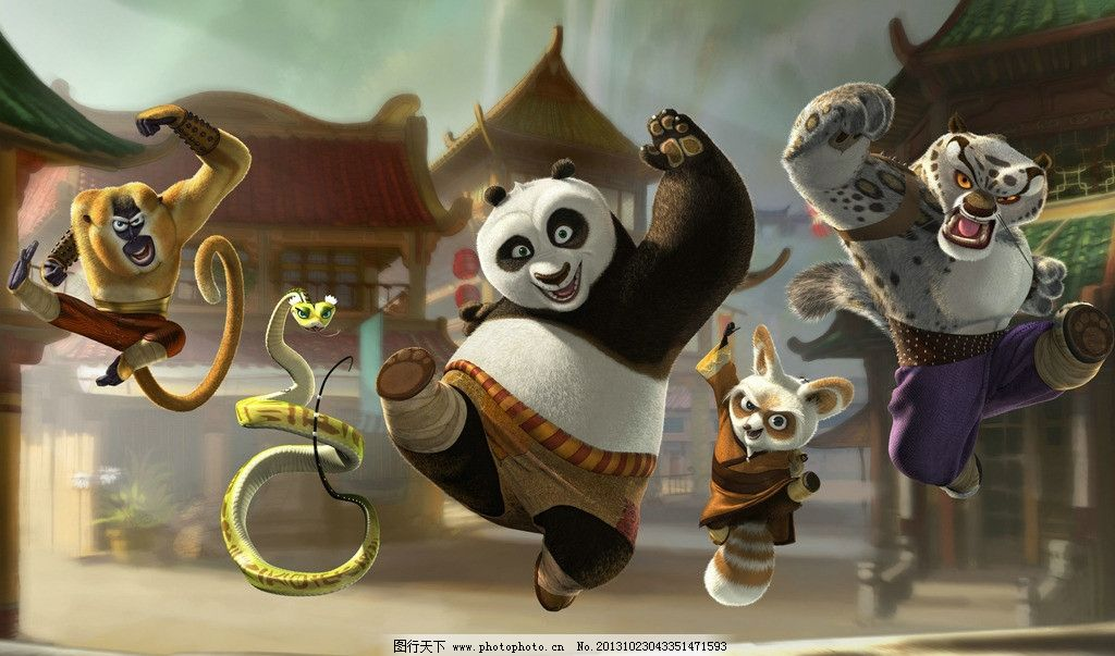 功夫熊猫图片 熊猫 灰豹 响尾蛇 猴子 兔爷 房屋 建筑物 灰色天空