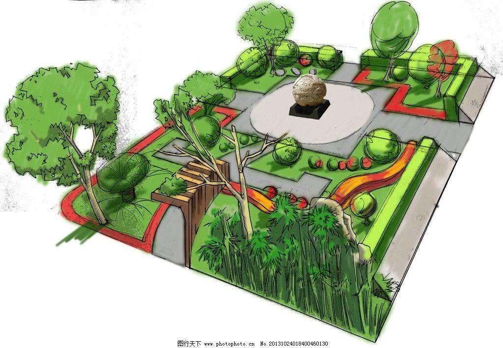 学校小花园 手绘 景观 校园 花园 piant 风景漫画 动漫动画 设计 72