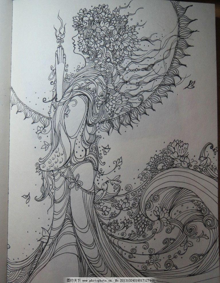 女神 黑白 装饰画 线描 纹饰 绘画书法 文化艺术 设计 180dpi jpg