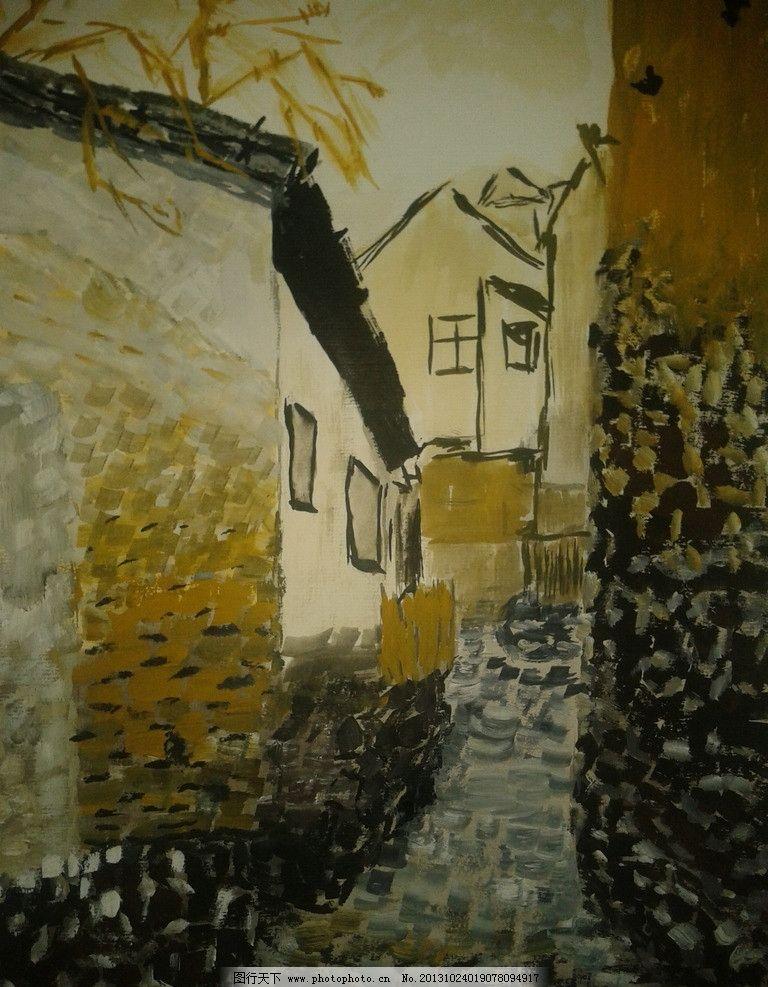 风景水粉画 风景 水粉画房屋 房屋 建筑 房子 绘画书法 文化艺术 设计