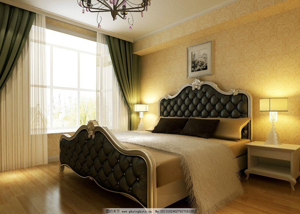 床铺 床 床头柜 吊灯 吊顶 木地板 窗帘 窗户 家装效果图 室内