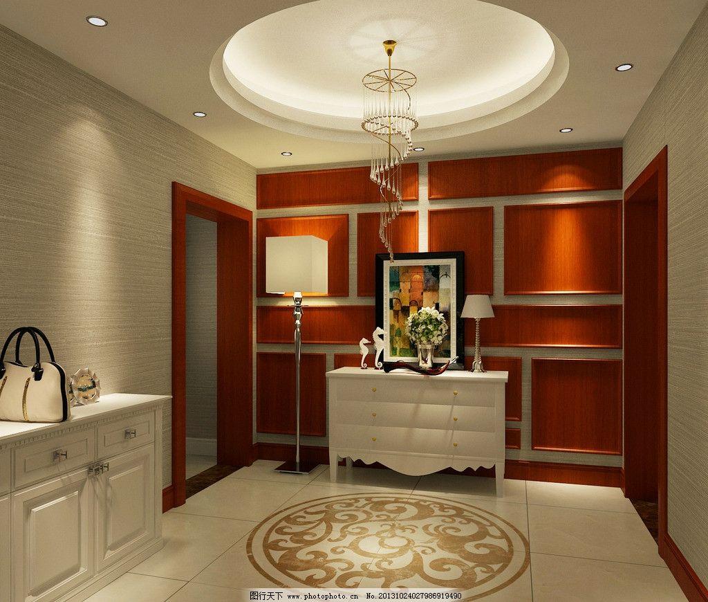 门厅 玄关 橱柜 吊灯 吊顶 座灯 台灯 家装效果图 室内设计 环境设计