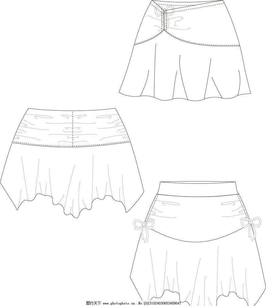 裙子 服装矢量素材 服装模板下载 服装设计 cdr作业 广告设计 矢量