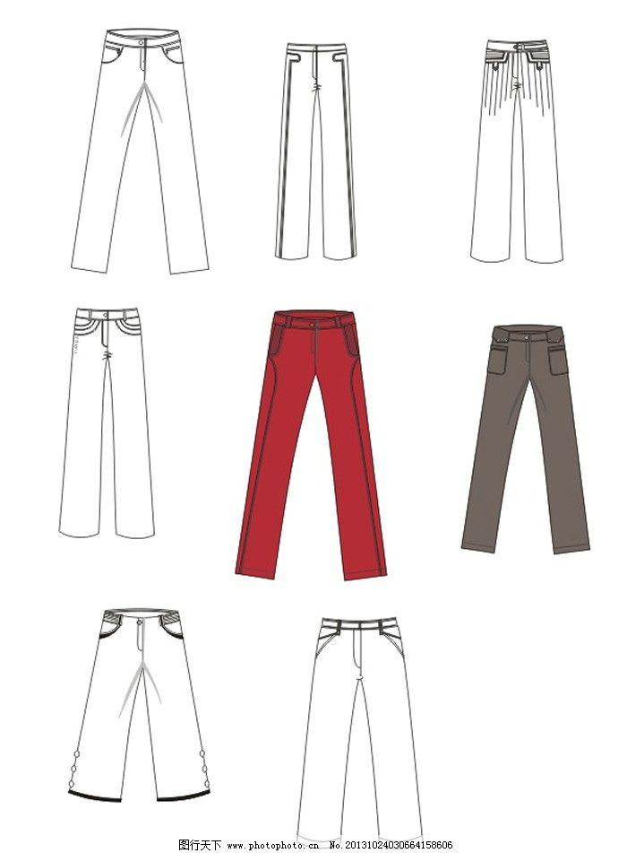 各种各样的裤子 服装矢量素材 服装模板下载 服装设计 cdr作业 广告