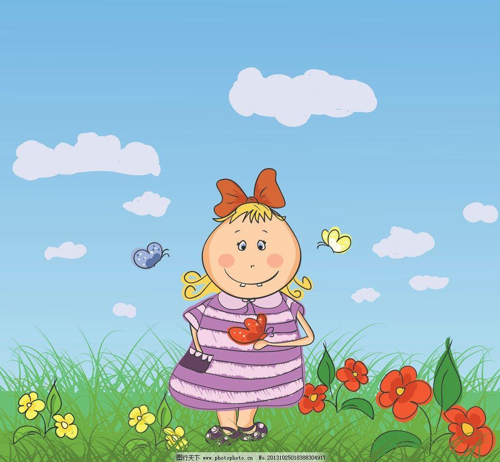 小女孩 蝴蝶 动画片美女 动画片 美女设计 美女 美女插图 动漫人物