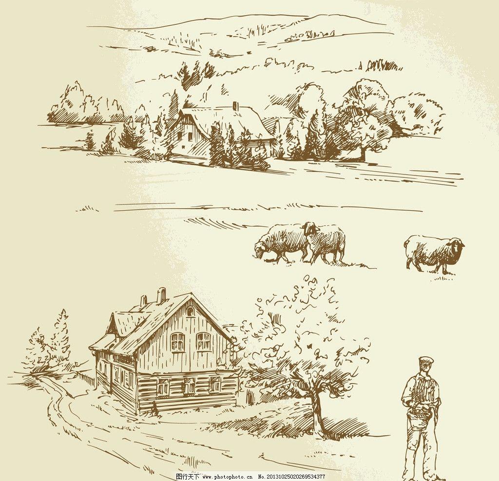 素描农场家禽农夫 手绘 复古 古黄 钢笔画 矢量 素描画钢笔画矢量