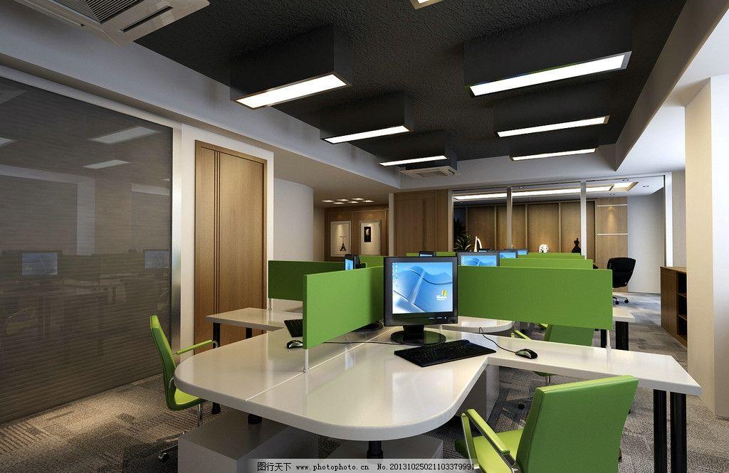 多人办公室 多人办公室效果图 绿色 电脑 桌椅 室内设计 3d作品 3d