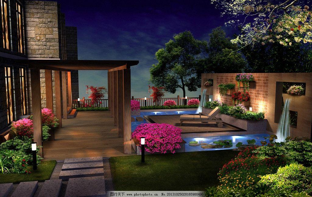 别墅花园 夜景图片