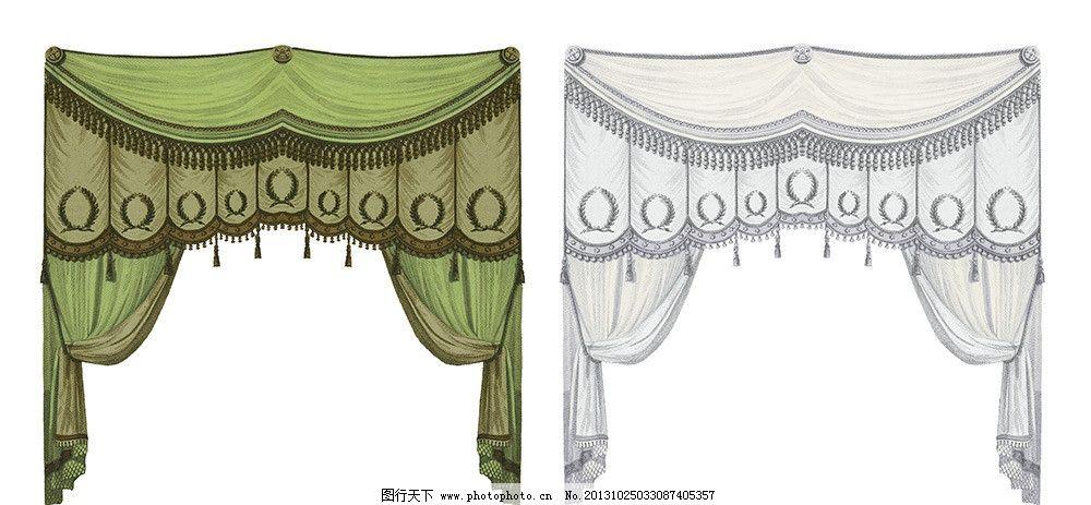 手绘窗帘布 绿色窗帘布 浅粉色窗帘布 窗帘布素材 欧式古典窗帘布 psd
