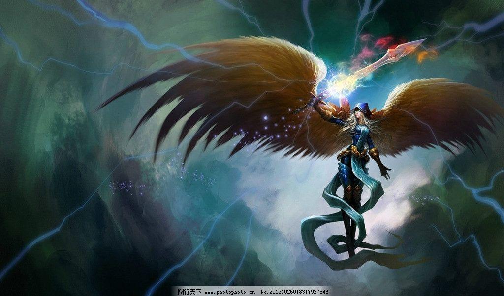 英雄联盟 lol 美女 翅膀 天使 宝剑 高清 桌面 壁纸 战士 女战士 天赋