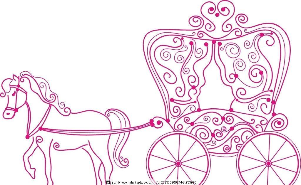 马车 红色 花纹 可爱 萌 野生动物 生物世界 矢量 cdr