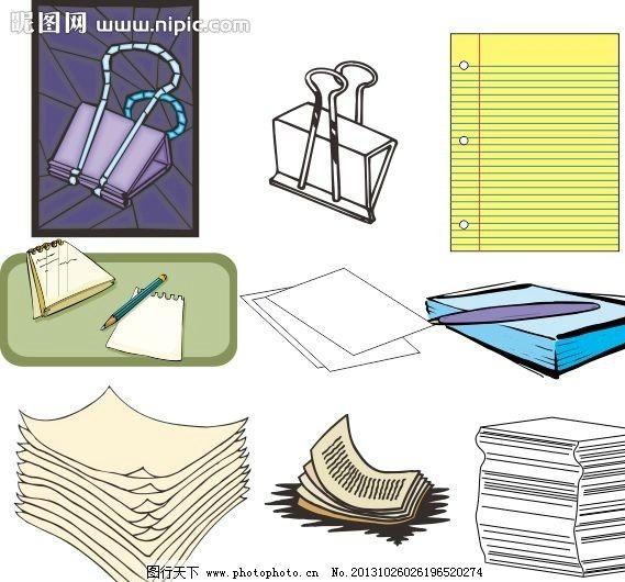 办公用具 矢量办公用具 签 记录本 夹子 办公用品 家具 道具 学习工具