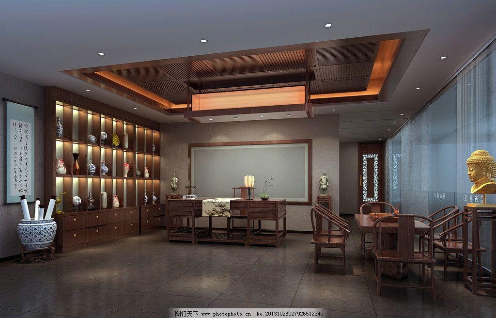 中式书房 书房 接待 茶室 中式 茶座 佛 博古架 室内设计 环境设计图片