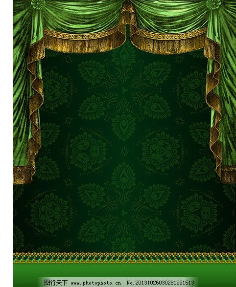 欧式花边 欧式模板 欧式风格 绿色底图 绿色展板模板 绿色窗帘 绿色