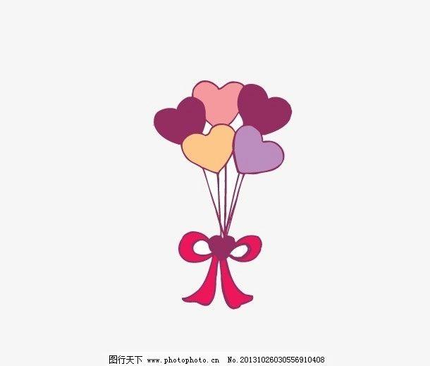 心形气球 蝴蝶结图片