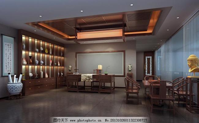 300dpi jpg 博古架 茶室 佛 环境设计 接待 设计 室内设计 书房 中式