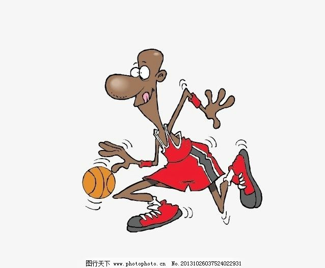 打篮球 卡通 篮球运动 矢量人物 男人男性 矢量图库 黑人 黑球员 黑