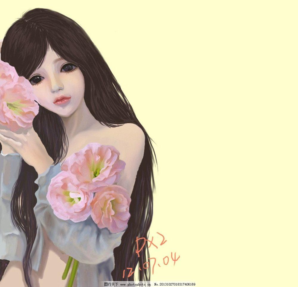 人物原画手绘 色彩手绘 人物手绘 临摹人物 卡通人物形象画 花卉 动漫