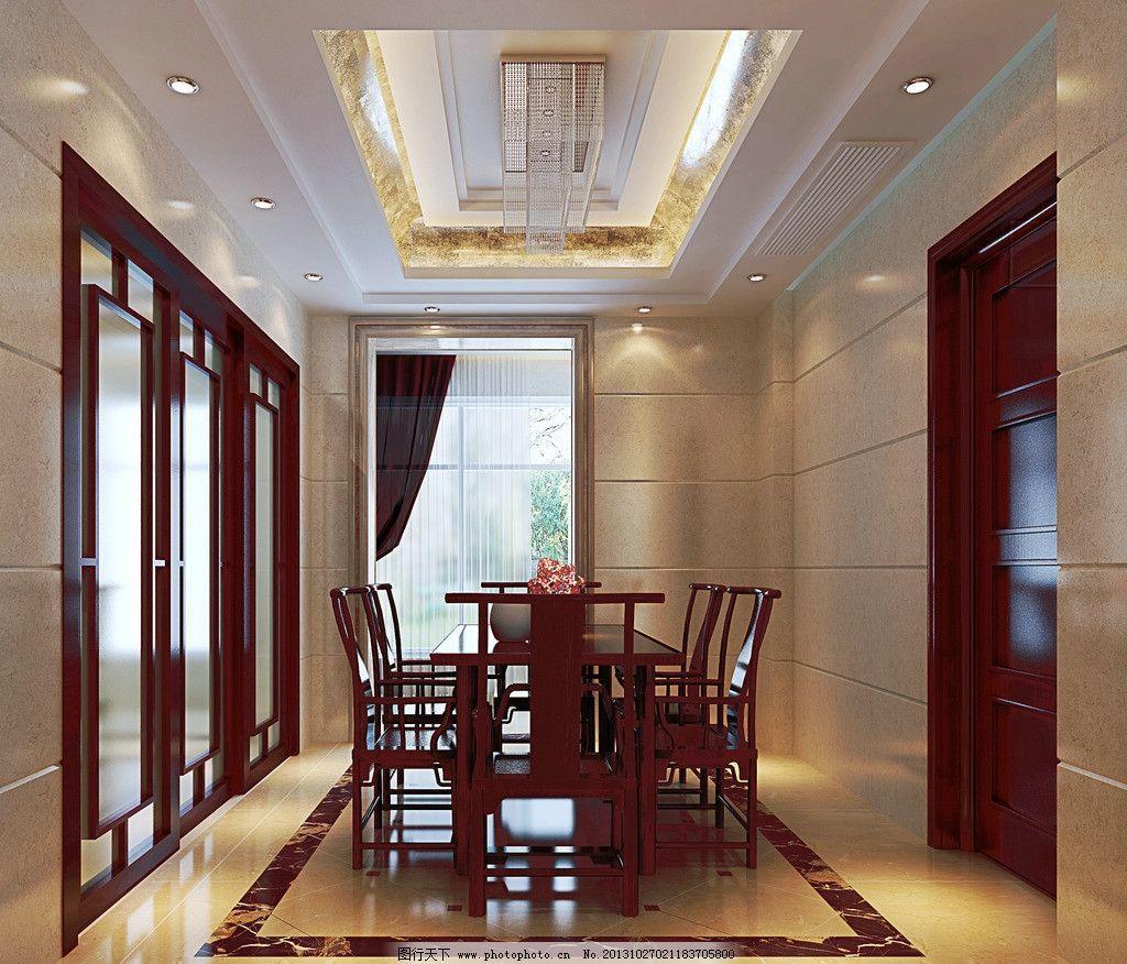 效果图 中式 装修        室内设计 会所 豪华 高端 餐桌 红木 3d作品图片