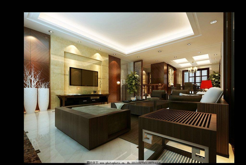 客廳效果圖 電視背景墻 沙發 裝飾品具 臺燈 盆景 3d作品 3d設計 設計