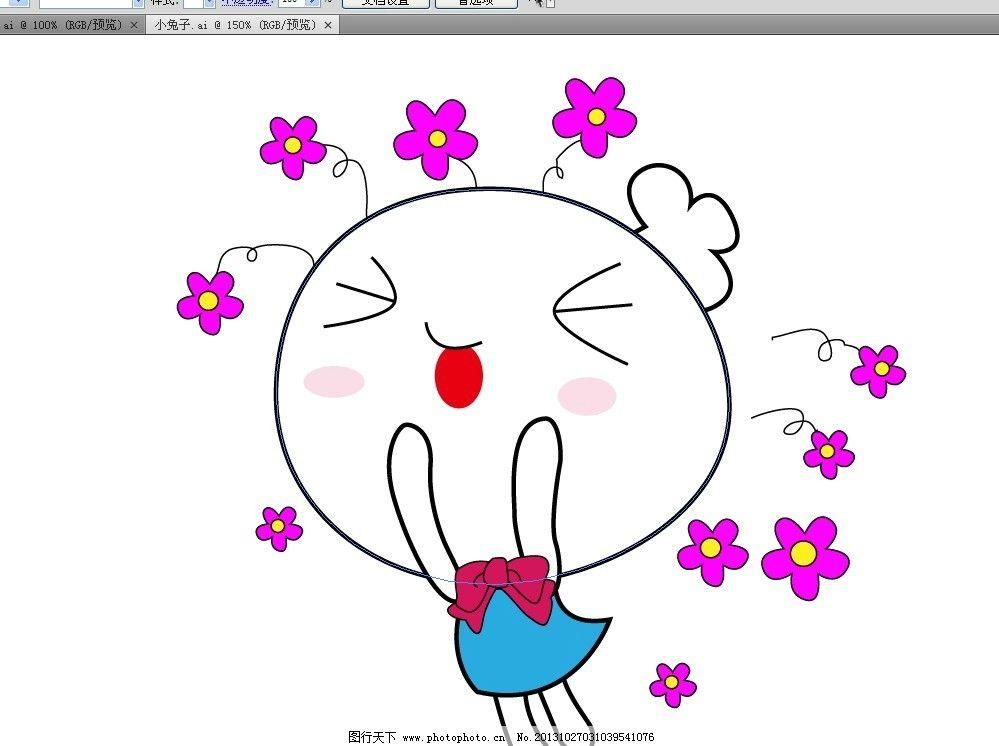 可爱卡通素描小兔子图片