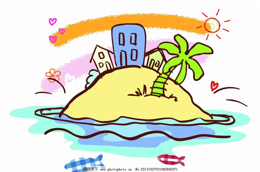 风景画 椰子树图片