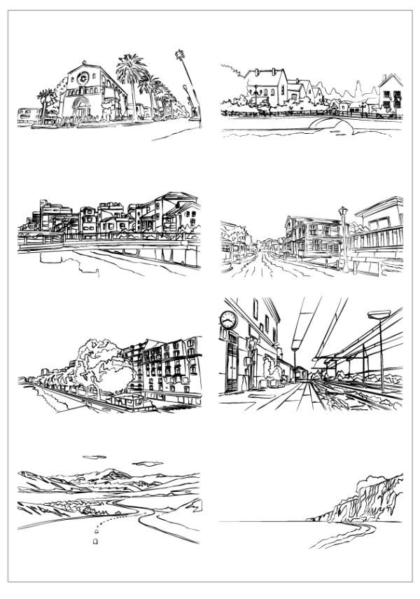 房屋 建筑线稿 手绘建筑 手绘建筑 建筑线稿 房屋 黑白手稿 名胜古迹