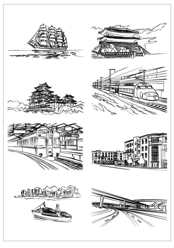 手绘建筑 建筑线稿 房屋 黑白