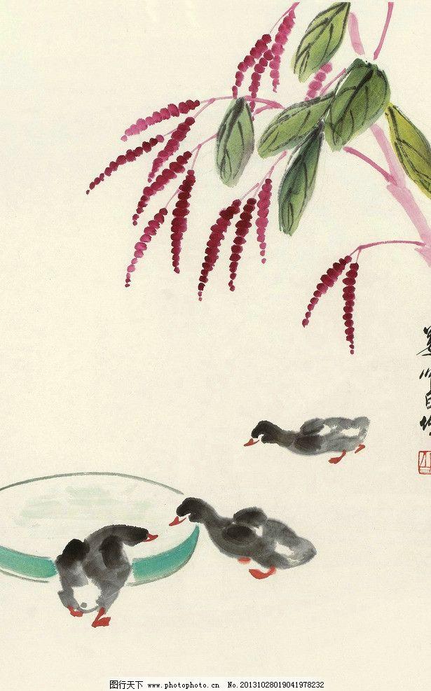 花海棠花新中式花鸟水墨画无框画手绘花