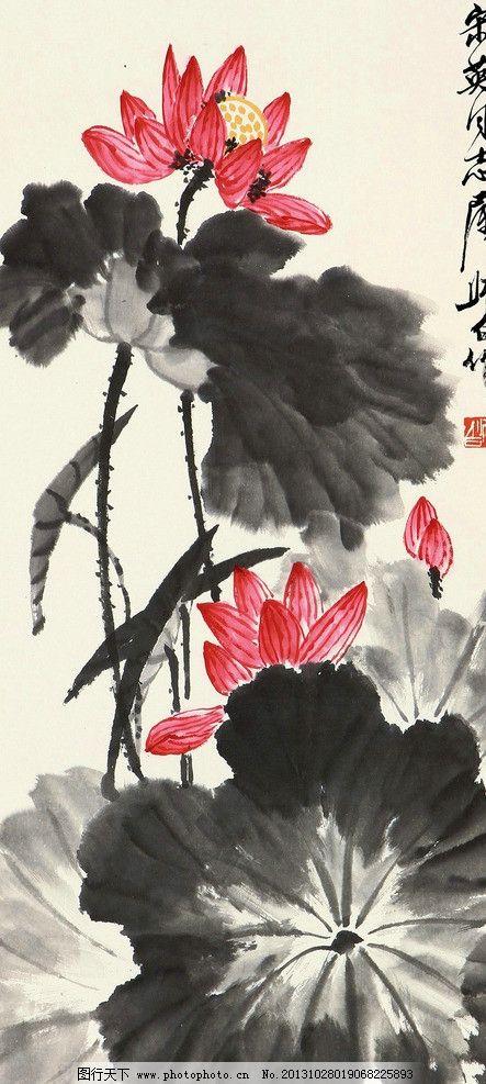 碧池倩影 娄师白 国画 芙蓉 荷花 写意 水墨画 花鸟 中国画 绘画书法
