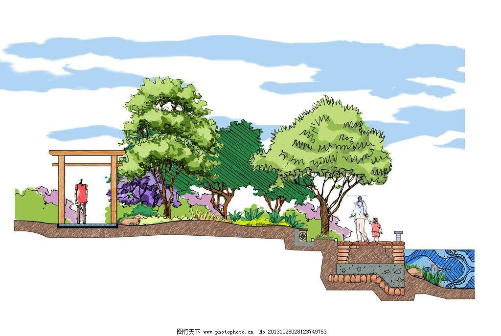 手绘断面图 手绘图 建筑设计 建筑手绘图 断面图 景观设计 环境设计