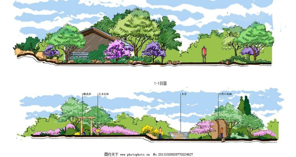 手绘宅间园林剖面图片