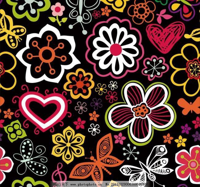 手绘线条可爱花纹花朵蝴蝶图片
