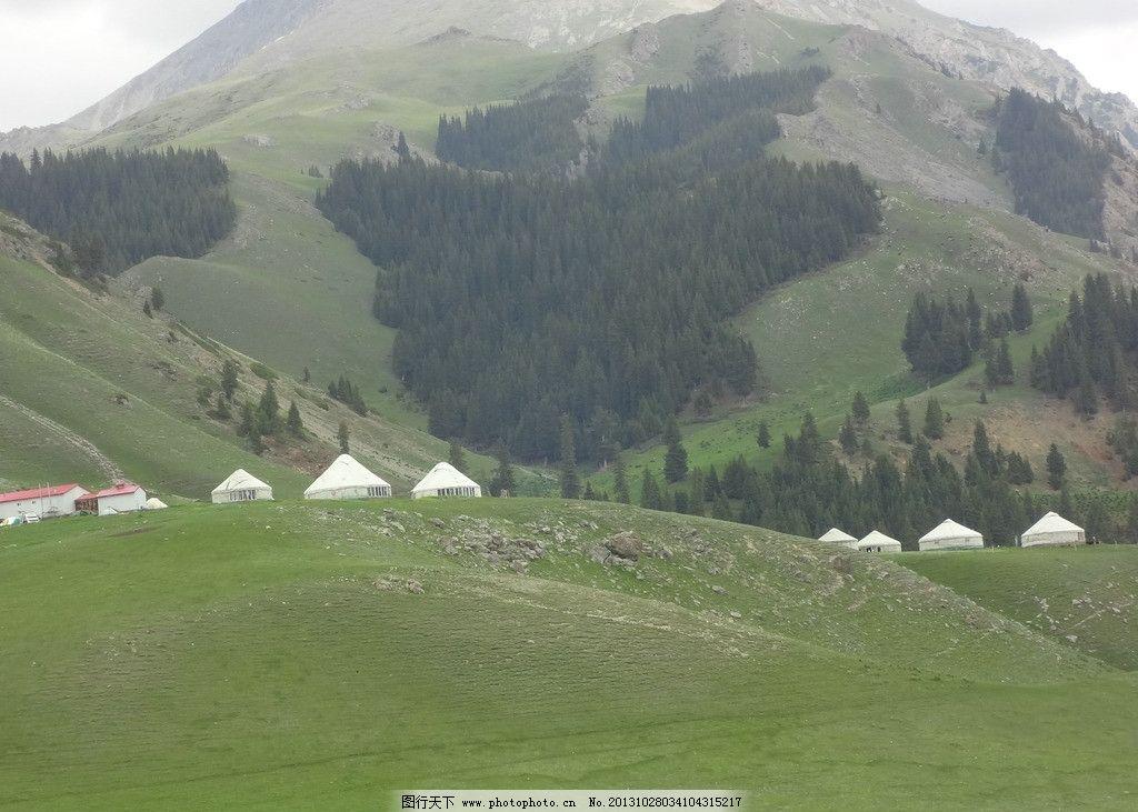 伊犁 自然景观 树林 蒙古包 山峰 摄影 自然风景 旅游摄影