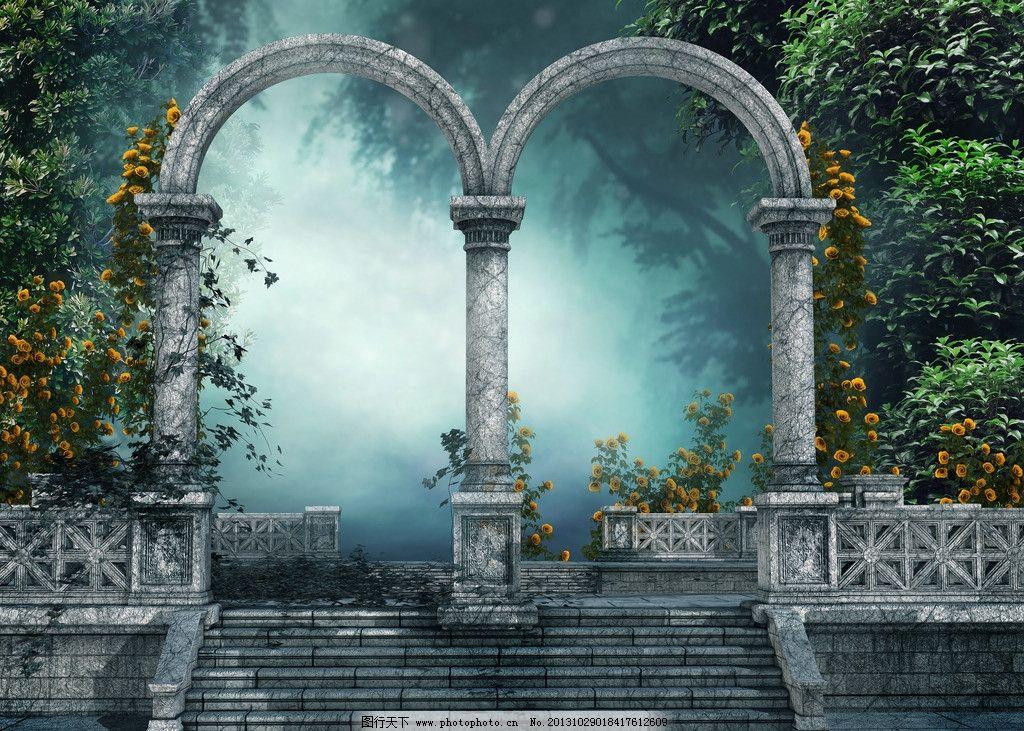 梦幻背景 童话世界 城堡 古堡 森林 夜晚 设计风光 风景漫画 动漫动画
