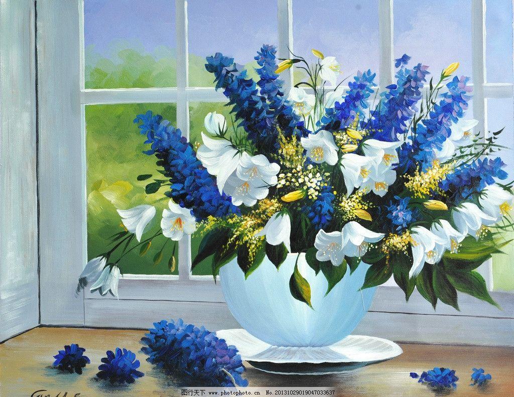 花卉装饰画 装饰画 纯手绘油画 无框画 花卉 欧美风格 窗户 花瓶 花盆