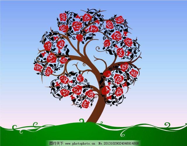 花树 花 树 绿草 风景 大自然 素材 自然风景 自然景观 矢量 ai
