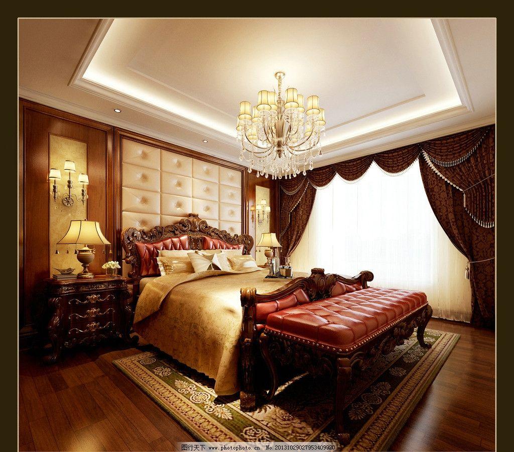 效果图卧室      欧式风格 平层 床铺 窗户 吊灯 室内设计 环境设计