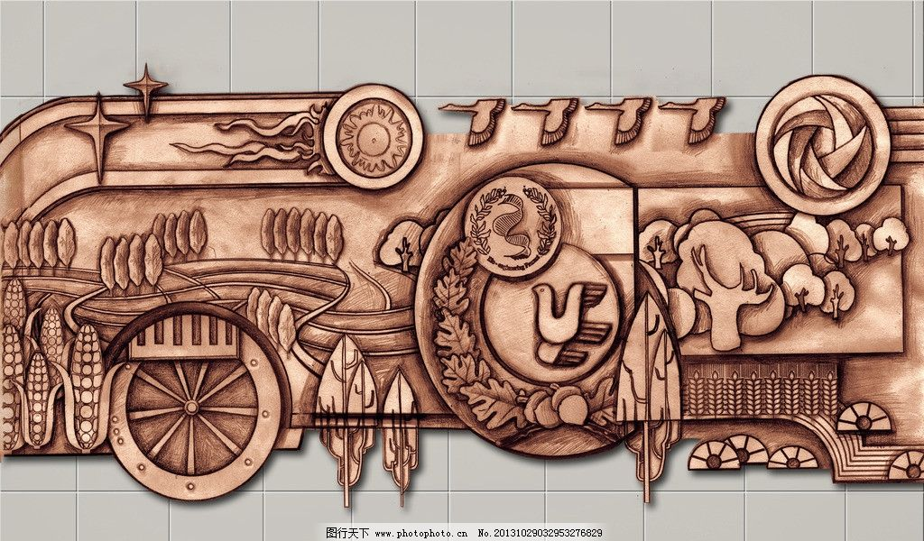 浮雕效果图 浮雕手绘图 雕塑效果图 雕塑设计图 手绘效果图 农业