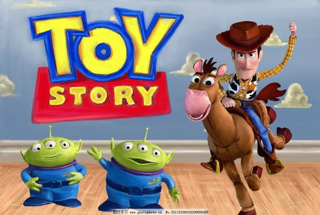 手绘玩具总动员海报 胡迪 外星人 手绘动画人物 动漫动画