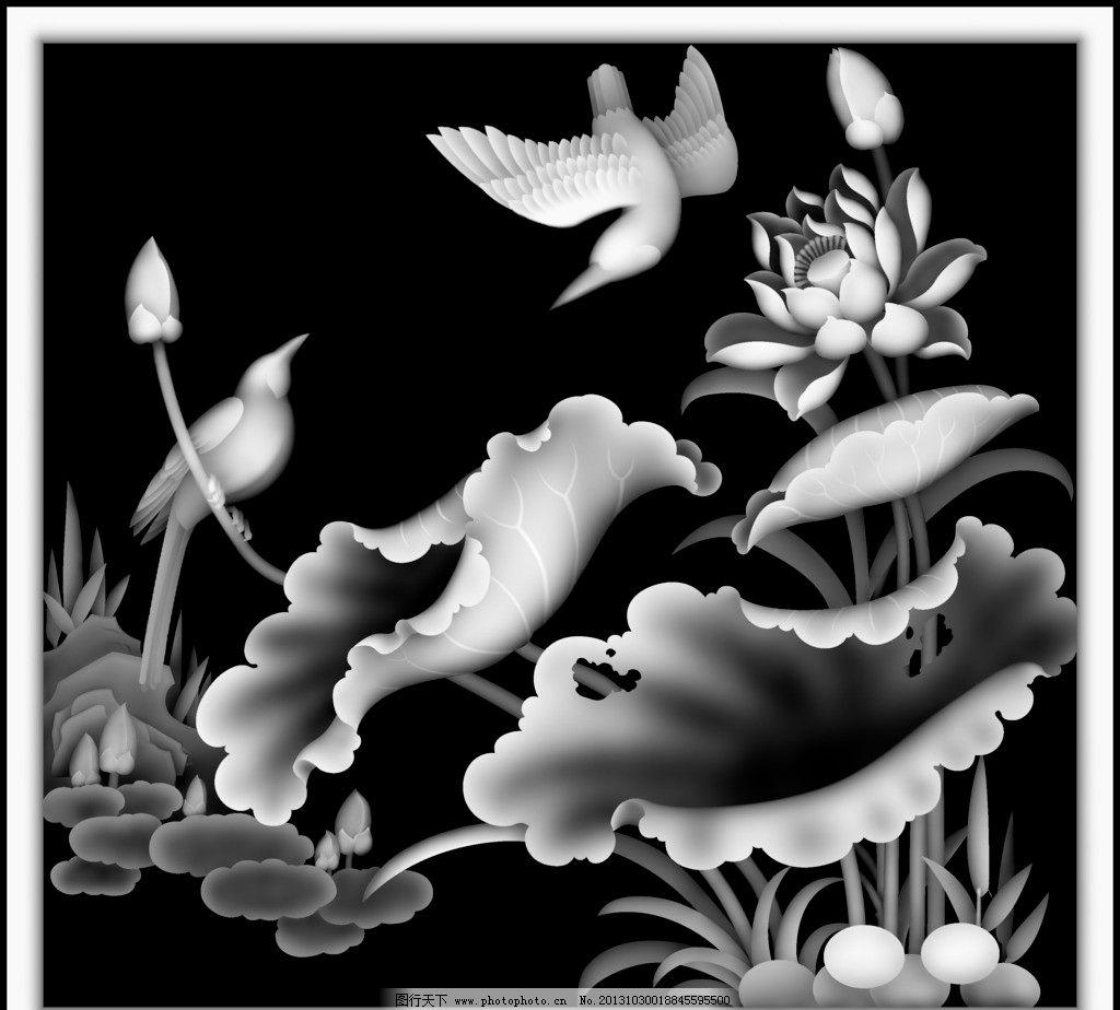 荷花竖面板组图 莲花 柜门板 浮雕 木雕 精雕 灰度图 精雕图 传统文化