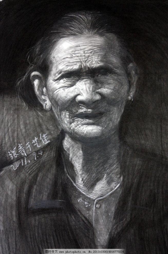 老人头像 素描      人物