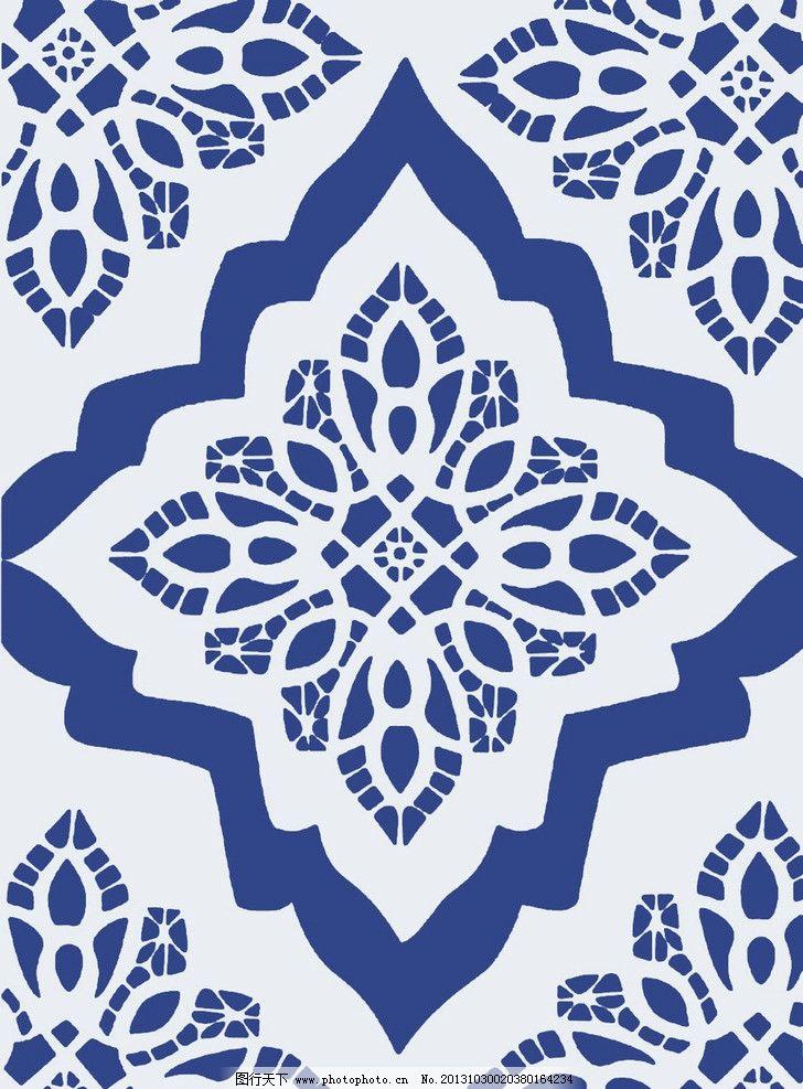 地毯花纹 凌形 蓝色 欧式 中式 地毯 花边花纹 底纹边框 设计 140dpi