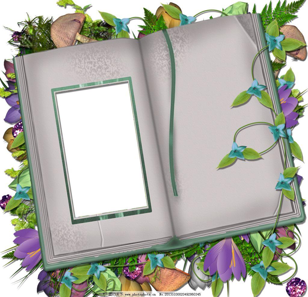 相册模板 春天 相册 框架 png 透明背景 边框 剪贴簿 花卉 边框相框